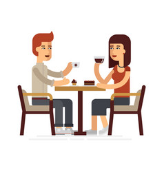 Man and woman drinking coffee in a cafe vector
