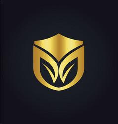 organic shield gold logo vector image