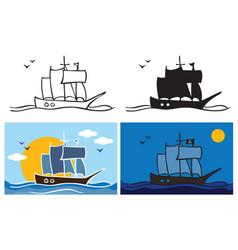 pirate ship at night vector image
