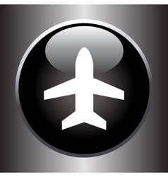 Plane silhouette on black button vector