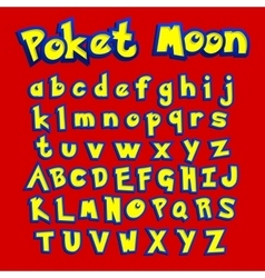 Poket moon font colorful letters for your game vector