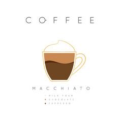 Poster coffee macchiato white vector