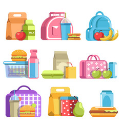 School lunch and meal boxes containers and vector