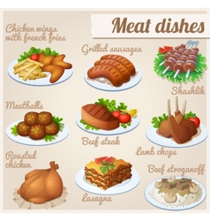Set of food icons meat dishes vector