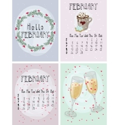 Set of winter february calendar posters and vector