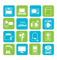 Silhouette household appliances and electronics vector image vector image