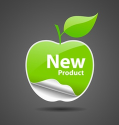 Sticker green apple price tag vector