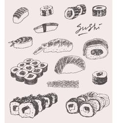 Sushi Set Hand drawn Engraving Vintage vector image
