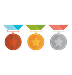 Three medals gold silver and bronze vector