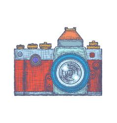 vintage old photo camera logo hand drawn vector image