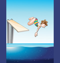 Woman diving in the pool vector