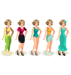 woman in different clothes on a white background vector image vector image