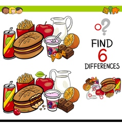 Difference game with food objects vector