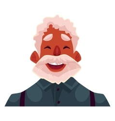 Grey haired old african man face laughing facial vector