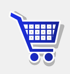 shopping cart sign new year bluish icon vector image
