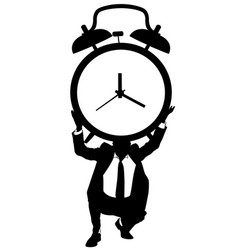 A man holding a big clock vector