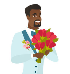 Young african-american groom with bridal bouquet vector
