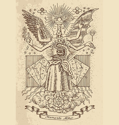 Mystic drawing of goddess of wisdom vector