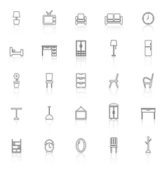 Furniture line icons with reflect on white vector