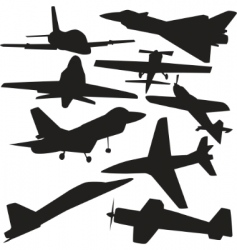 Ctor silhouette of airplanes vector