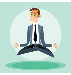 Businessman engaged in yoga vector