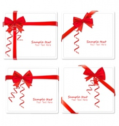 Four cards with bows ribbons vector