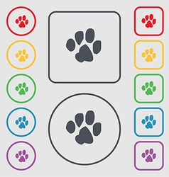Trace dogs icon sign symbol on the round and vector