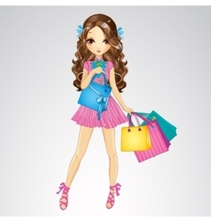 Girl in pink dress do shopping vector