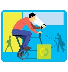 Man cartoon on a exercise bike vector