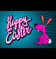 Happy easter bunny card in format vector
