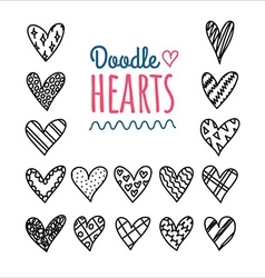 Hand drawn doodle hearts with different pattern vector