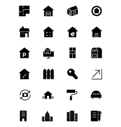 Real estate solid icons 3 vector