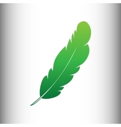 Feather sign green gradient icon vector