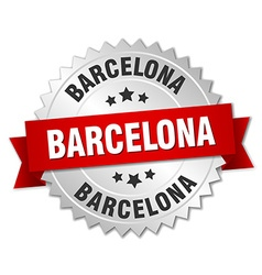 Barcelona round silver badge with red ribbon vector