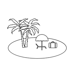 Relax on beach icon outline style vector