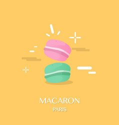 A pair of macaron with yellow background design vector