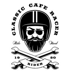 biker with beard and crossed wrenches vector image