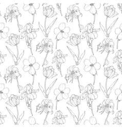 Black vintage garden flowers on white vector