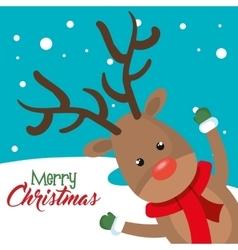 Card reindeer cheerful merry christmas vector