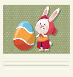 Cartoon happy easter cute girl bunny egg vector