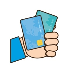 Cartoon holding credit card bank vector