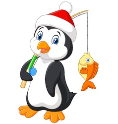 Cartoon penguin fishing isolated vector