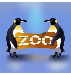 Cartoon penguins holding zoo plate vector
