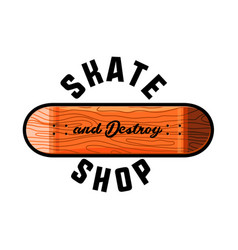 Color vintage skate shop emblem vector