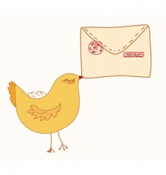 cute bird with letter vector image