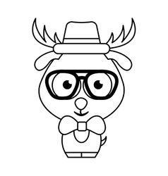 Cute deer character hipster style vector