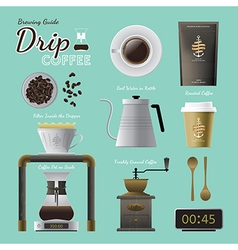 Drip coffee brewing guide set vector