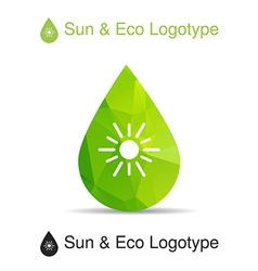 Ecology logotype icon and nature symbol sun in vector