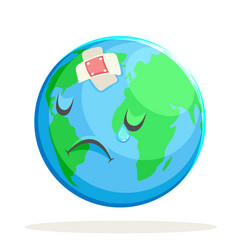 Ecology sick sad suffer emotion nature earth globe vector