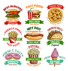 fast food sketch emblem set with burger and drink vector image vector image